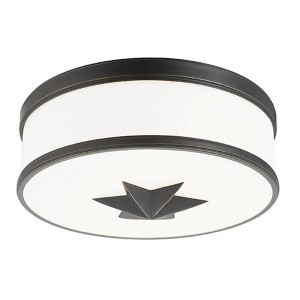 Seneca Old Bronze Three-Light Flush Mount with Opal Glass