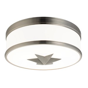 Seneca Satin Nickel Three-Light Flush Mount with Opal Glass