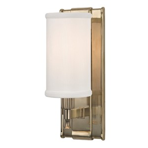 Palmdale Aged Brass One-Light Wall Sconce with White Shade