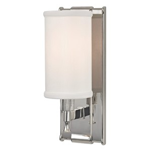 Palmdale Polished Nickel One-Light Wall Sconce with White Shade