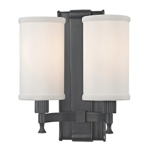 Palmdale Old Bronze Two-Light Wall Sconce with White Shade