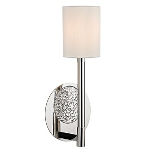 Burbank Polished Nickel One-Light Wall Sconce with White Shade