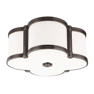 Chandler Old Bronze Two-Light Flush Mount with Opal Glass