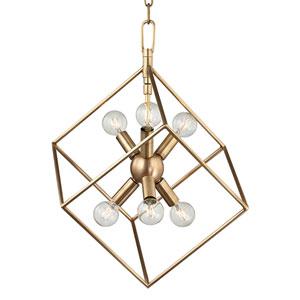 Roundout Aged Brass Six-Light Pendant