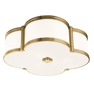 Chandler Aged Brass Three-Light Flush Mount with Opal Glass