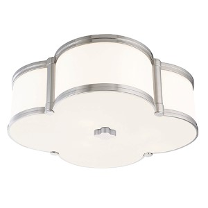 Chandler Polished Nickel Three-Light Flush Mount with Opal Glass