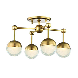 Boca Aged Brass LED Semi Flush Mount