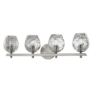 Burns Satin Nickel Four-Light Vanity Fixture