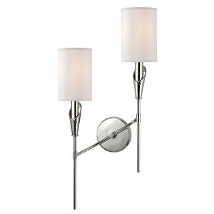 Tate Polished Nickel Two-Light Left Orientation Wall Sconce with White Shade
