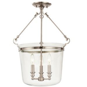 Quinton Historic Nickel 16-Inch Semi Flush Ceiling Light