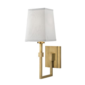 Fletcher Aged Brass One-Light Wall Sconce with White Faux Silk Shade