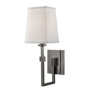 Fletcher Historic Nickel One-light Wall Sconce with Faux Silk Shade