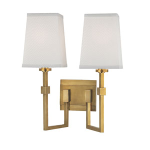 Fletcher Aged Brass Two-Light Wall Sconce with White Faux Silk Shade