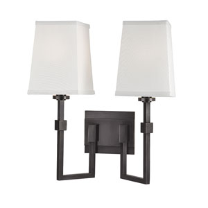 Fletcher Old Bronze Two-Light Wall Sconce with White Faux Silk Shade