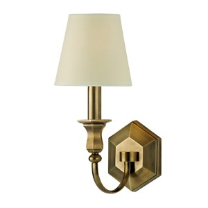 Charlotte Aged Brass One-Light Wall Sconce with Cream Shade