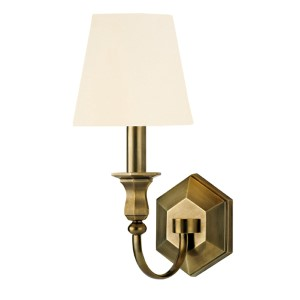 Charlotte Aged Brass One-Light Wall Sconce with White Shade