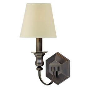 Charlotte Old Bronze One-Light Wall Sconce with Cream Shade