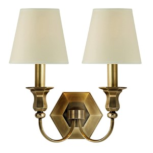 Charlotte Aged Brass Two-Light Wall Sconce with Cream Shade