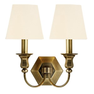 Charlotte Aged Brass Two-Light Wall Sconce with White Shade