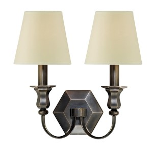 Charlotte Old Bronze Two-Light Wall Sconce with Cream Shade