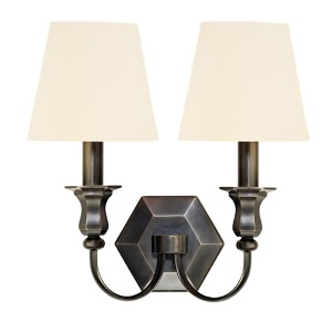 Charlotte Old Bronze Two-Light Wall Sconce with White Shade