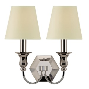 Charlotte Polished Nickel Two-Light Wall Sconce with Cream Shade
