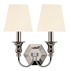 Charlotte Polished Nickel Two-Light Wall Sconce with White Shade