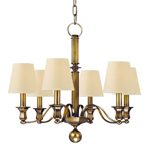 Charlotte Aged Brass Six-Light Chandelier with Cream Shade