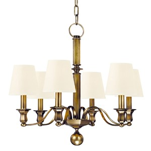 Charlotte Aged Brass Six-Light Chandelier with White Shade