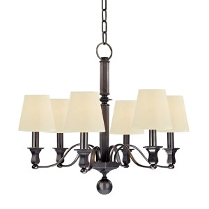 Charlotte Old Bronze Six-Light Chandelier with Cream Shade