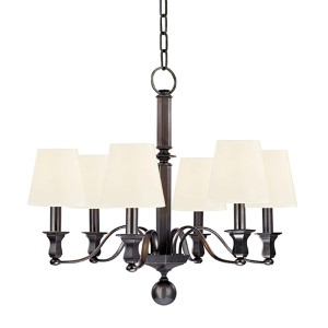 Charlotte Old Bronze Six-Light Chandelier with White Shade