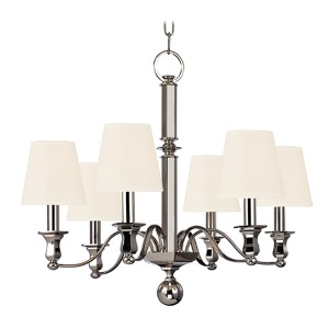 Charlotte Polished Nickel Six-Light Chandelier with White Shade