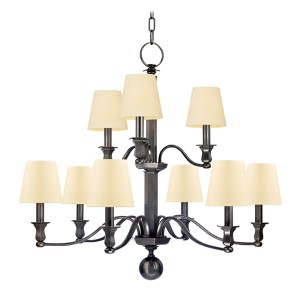Charlotte Old Bronze Nine-Light Chandelier with Cream Shade