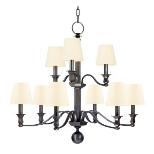 Charlotte Old Bronze Nine-Light Chandelier with White Shade