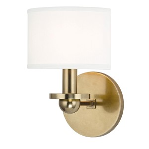 Kirkwood Aged Brass One-Light Wall Sconce with White Shade