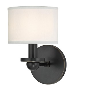 Kirkwood Old Bronze One-Light Wall Sconce with White Shade