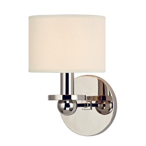 Kirkwood Polished Nickel One-Light Wall Sconce with Cream Shade