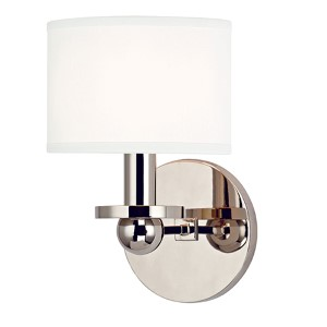 Kirkwood Polished Nickel One-Light Wall Sconce with White Shade