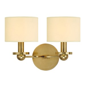 Kirkwood Aged Brass Two-Light Wall Sconce with Cream Shade