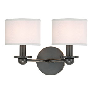 Kirkwood Old Bronze Two-Light Wall Sconce with White Shade