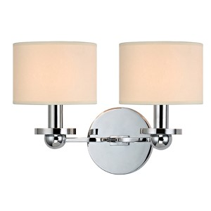 Kirkwood Polished Chrome Two-Light Wall Sconce with Cream Shade