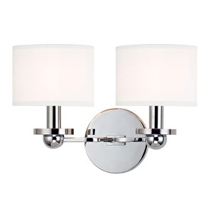 Kirkwood Polished Chrome Two-Light Wall Sconce with White Shade