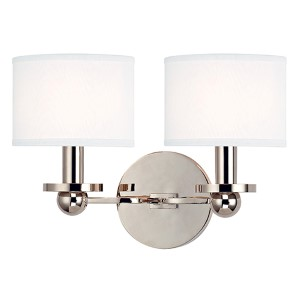 Kirkwood Polished Nickel Two-Light Wall Sconce with White Shade