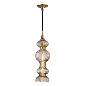 Pomfret Aged Brass One-Light Mini Pendant with Bronze Glass