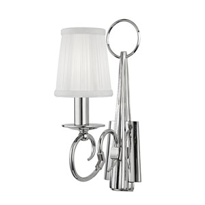 Caldwell Polished Nickel One-Light Wall Sconce with White Silk Shade