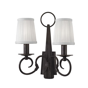 Caldwell Olde Bronze Two-Light Wall Sconce with White Silk Shade