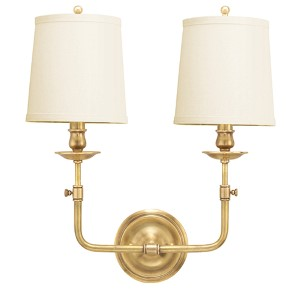 Logan Aged Brass Two-Light Wall Sconce