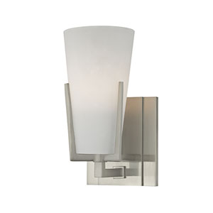 Upton Satin Nickel One-Light Vanity with Frosted Mouth-Blow Glass