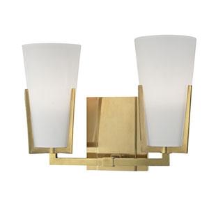Upton Aged Brass Two-Light Vanity Fixture