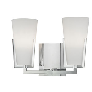 Upton Polished Chrome Two-Light Vanity Fixture with Mouth-Blown Glass
